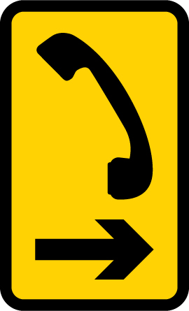 Direction to emergency telephone or telephone at or near a